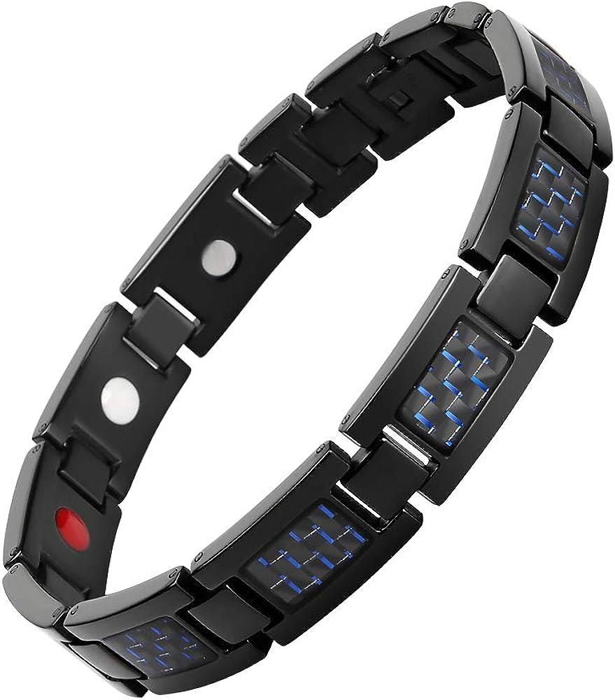 Ddbanner Men's Fashion Blue Carbon Fiber Titanium Magnetic Bracelet Adjustable Included