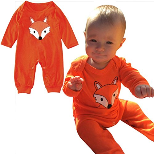Muxika Newborn Infant Baby Boys Girls Fox Printing Long Sleeve Romper Jumpsuit (Age:0~6 Month, Orange) (Type O Negative Summer Girl compare prices)