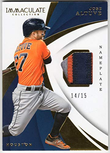 (Jose Altuve 2018 Panini Immaculate Nameplate Parallel 3 Color Jersey Patch Card Serial #14/15 Houston Astros)