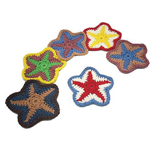 Special Coasters 6 PCS Drinks Cup Coaster Home Decor Starfish Decals Table Pads Value Pack, Coffee Coasters,Tea Coasters,Office Coasters, 3.9''Handmade Coasters Party Decoration by FansArriche