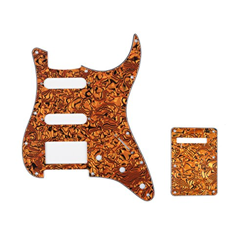 Musiclily HSS 11 Holes Strat Electric Guitar Pickguard and BackPlate Set for Fender US/Mexico Made Standard Stratocaster Modern Style Guitar Parts,4Ply Shell Tiger ()