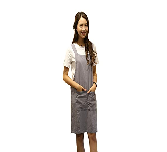 73f512506ef98e Amazon.com  KKTech Japan Style Soft Cotton Linen Apron with Double Front  Large Size Pockets Solid Color Halter Cross Bandage Aprons Kitchen Cooking  Clothes ...