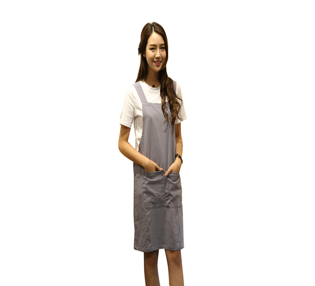 KKTech Japan Style Soft Cotton Linen Apron with Double Front Large Size Pockets Solid Color Halter Cross Bandage Aprons Kitchen Cooking Clothes (Strap style-Gray)