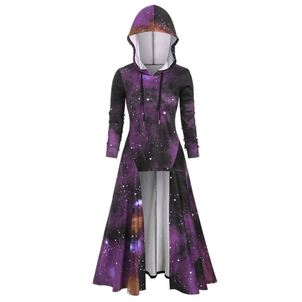 Shusuen Women's Vintage Hooded Trench Coat Gothic High Low Irregular Hem Overcoat Colorblock Cloak Purple by Shusuen_Clothes