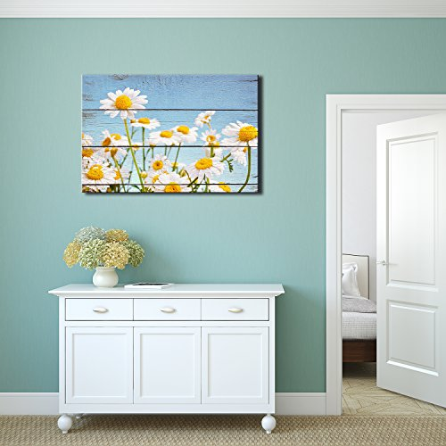 Wall26 - Daisy Field in Bright Sun - Rustic Floral Arrangements - Pastels Colorful Beautiful - Wood Grain Antique - Canvas Art Home Decor - 16x24 (Beautiful Floral Arrangements)