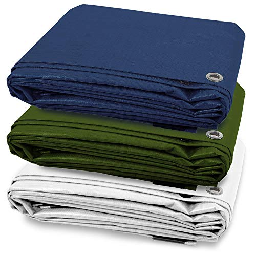 Tarps Medium Duty Waterproof | Ground Tent Trailer Cover | Large Tarpaulin in Multiple Sizes | 6 oz/Sq Yd | Green - 10 x 12