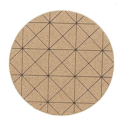 Round Cork Drink Coaster Tea Coffee Cup Wood Mat Table Heat Resistant Mats (Patterns - Black Lines)