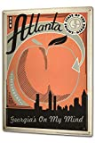 Tin Sign XXL Travel Kitchen Atlanta Skyline apple