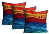 Mukesh Handicrafts African Artwork Jute Fabric Cushion Cover Set Of 3 - Size (24X24 Inches)