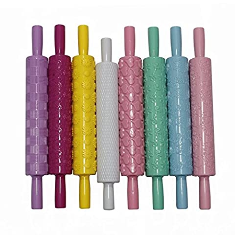 8 Piece Set of Embossed Rolling Pins by Kurtzy - Textured Non-Stick Designs and Patterned for Cake Decorating - Ideal for Fondant, Pastry, Icing, Clay, Dough - Best Kit for Women, Men and Kids