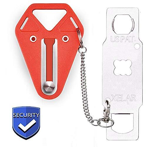 Portable Door Locker Door Lock from Inside Door Stopper Travel Lock, Lockdown Door Security for Home, Apartment, Living Motel - Additional Protection, AirBNB, Hotel, Home Door Locks