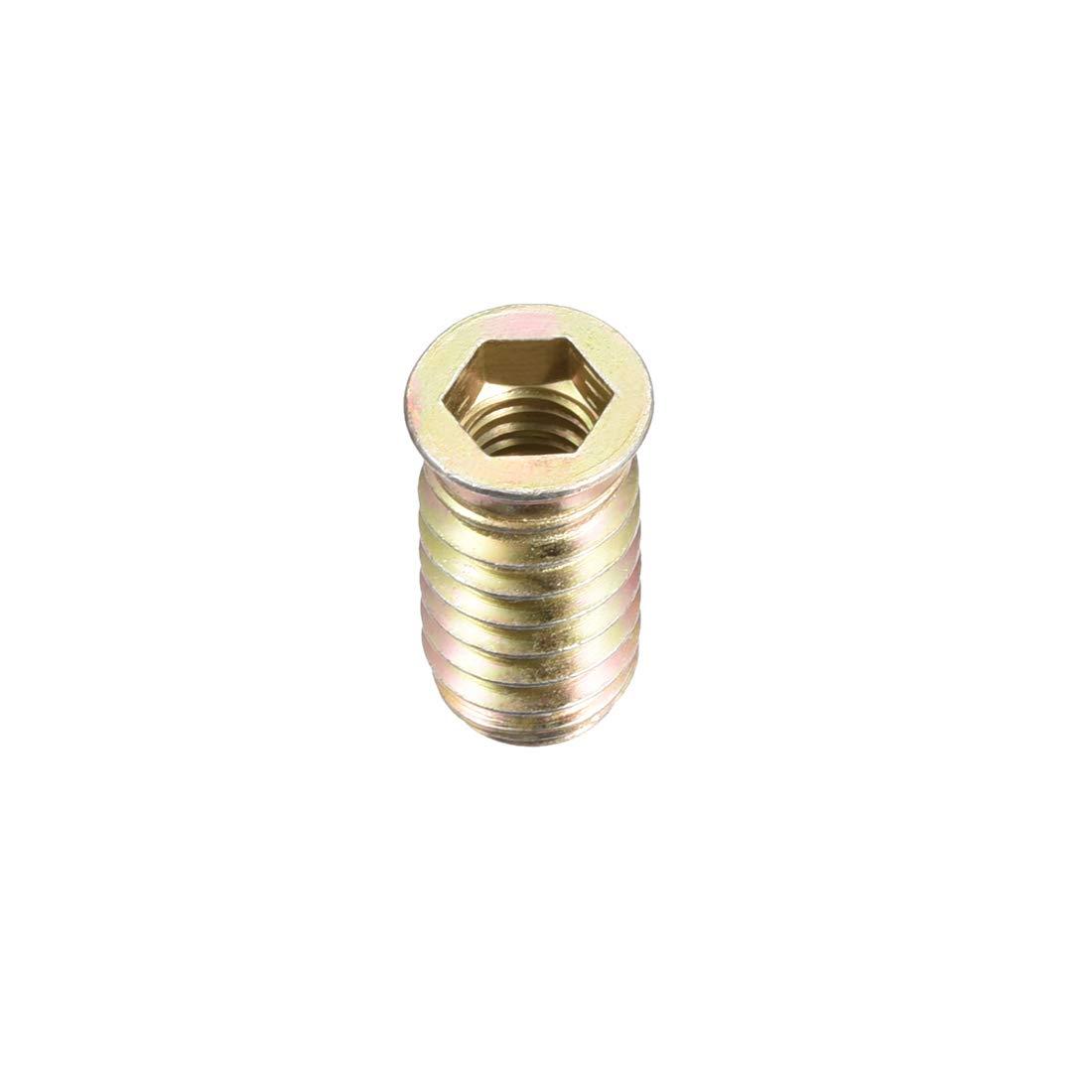 uxcell/® Wood Furniture M8x15mm Threaded Insert Nuts Interface Hex Socket Drive 30pcs