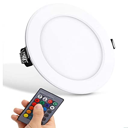 the latest 526f1 bc4e4 Ultra-thin LED Panel Light Round Concealed Recessed Ceiling Lamp Downlight,  Color Changing RGB with Remote Control AC 85-265V (10W)