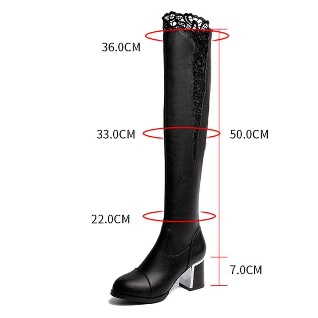 af053709600 Amazon.com | Limsea Women Over The Knee Shoes Lace Boots Leather ...