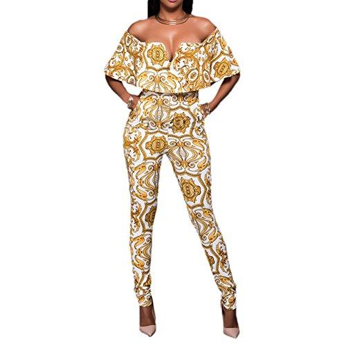 Bodycon4u Womens Jumpsuits Elegant Button Loose Long Wide Leg Jumpsuits Romper