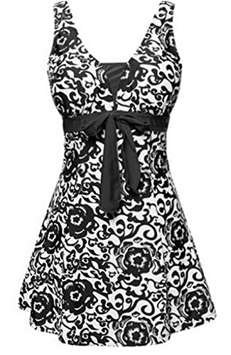 Dreamspell One Piece Plus Size Retro Swimwear Tankini Bathing Suit Plus for Women (2XL(US 18W-20W), Black)