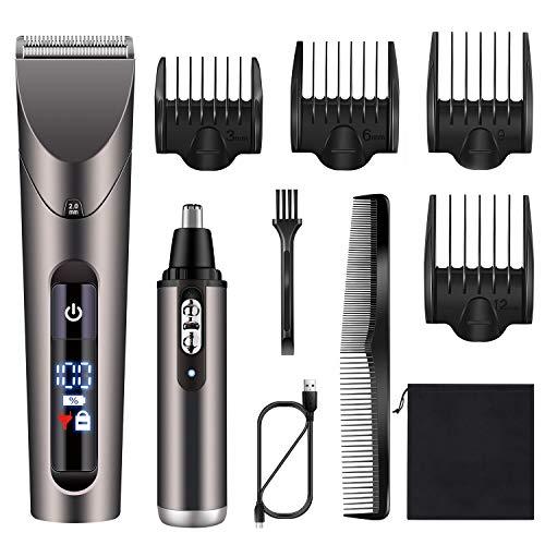 Hatteker Mens Hair Trimmer Clipper Cordless Beard Trimmer Ear Nose Hair Trimmer Professional Haircut & Grooming Kit For Men Waterproof