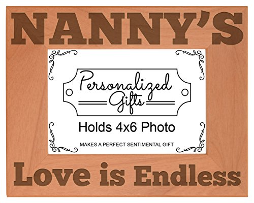 ThisWear Nanny's Love is Endless Natural Wood Engraved 4x6 Landscape Picture Frame Wood