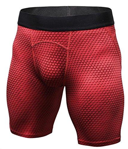 Voler Shorts - Alion Men's Cool Dry Gym Sport Compression Baselayer Shorts Pants Capri Tights Red M