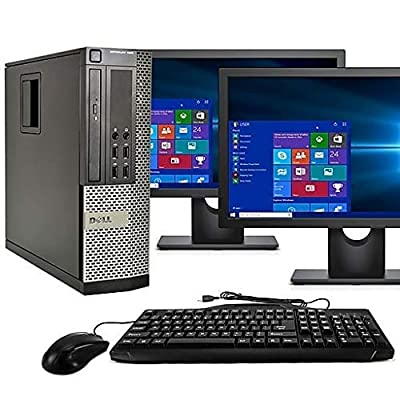 "Dell Optiplex 9020 SFF Computer Desktop PC, Intel Core i5 Processor, 16 GB Ram, 2 TB Hard Drive, WiFi, Bluetooth 4.0, DVD-RW, Dual 19"" LCD Monitors (Upgrades Available) Windows 10 Pro (Renewed)"