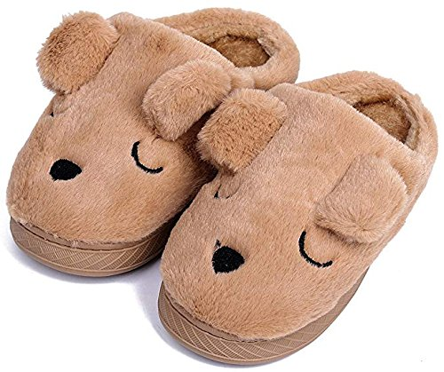 - UIESUN Unisex Doggy Toddler Kids Slippers for Boys and Girls Brown 22