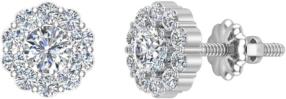 Halo Diamond Stud Earrings Round Brilliant Earth-mined 14K Gold 3/4 ctw