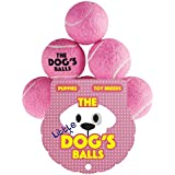 The Little Dog's Balls - 6 Small Pink Tennis Balls for Dogs, Premium Mini Dog Toy for Puppies & Small Dogs, Puppy Exercise, Play, Training & Fetch. No Squeaker, the King Kong of Little Dog Balls
