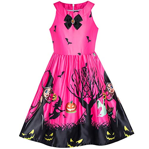 Girls Dress Fuchsia Halloween Witch Bat Pumpkin Costume Halter Dress Size 12 for $<!--$12.99-->
