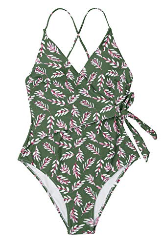 - CUPSHE Women's Leaf Print Bathing Suit Wrap Ties Lined One Piece Swimwear, XS