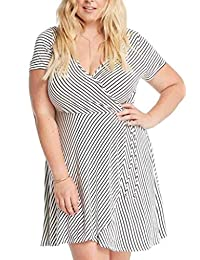 Women's Fashion Mock Wrap Stripes Short Sleeves Knit Classic Dress USA Plus Size
