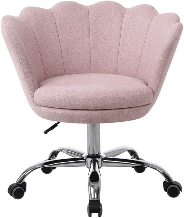 SSLine Modern Cute Desk Chair Home Office Mid-Back Computer Chair on Wheels Elegant Living Room Upholstery Leisure Chairs Fabric Swivel Shell Chairs Vanity Chairs for Girls Women -Pink