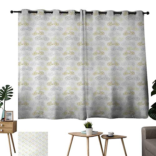 Standing Camel Outdoor Light - Aurauiora Grommet Customized Curtains Bicycle Classic Design Bicycle Drawings of Pastel Colors Retro Style White Background Cadet Blue Camel Outdoor Standing Outdoor Privacy Curtain W55 xL39