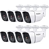 TMEZON 8 Pack HD 2.0MP 1080P AHD/CVI/TVI/960H Bullet Security Camera Day Night Vision 36 IR Leds Waterproof Outdoor/Indoor 2.8mm Wide Angle For CCTV Camera System (Metal,White)