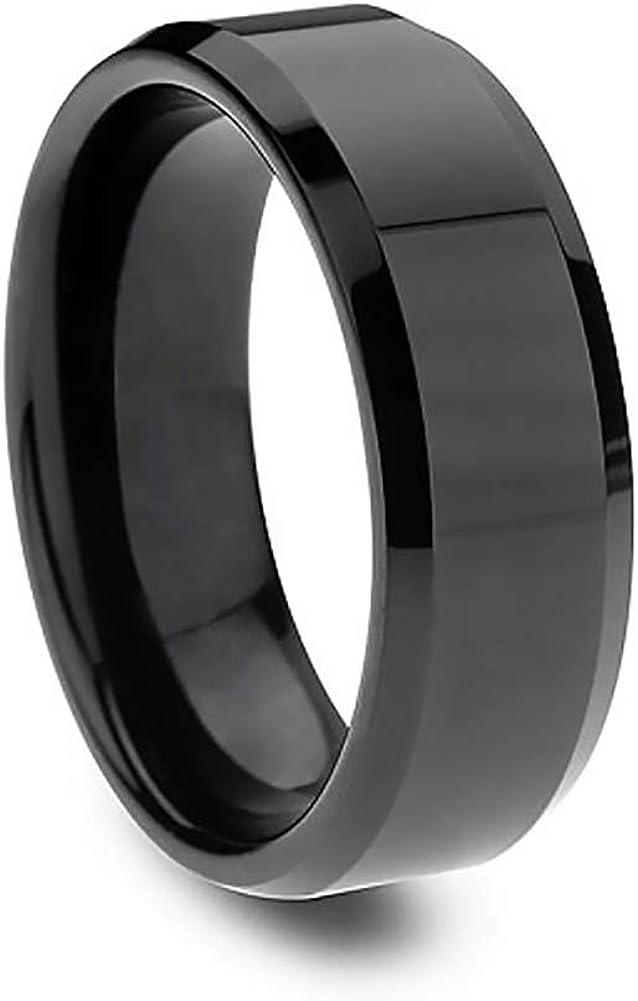 Anillos de acero inoxidable anillo de acero de titanio para hombres anillo de boda Cool simple banda 8mm espejo acero anillo tamaño 12 (negro)
