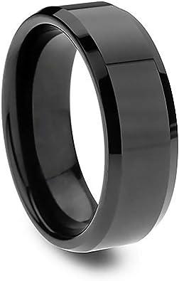 100 Noir Simple Mariage Bande Poli Fiançailles Mariage Bague Hommes S-Anneau en acier