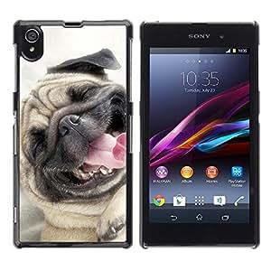 TopCaseStore / la caja del caucho duro de la cubierta de protección de la piel - Pug Happy Smiling Dog Pet Canine Fawn - Sony Xperia Z1 L39 C6902 C6903 C6906 C6916 C6943