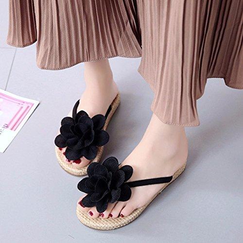 XIAOGEGE Clip y preciosas flores frescas zapatillas zapatos de mujer nueva playa casual, arrastrar y colocar los campos Negro