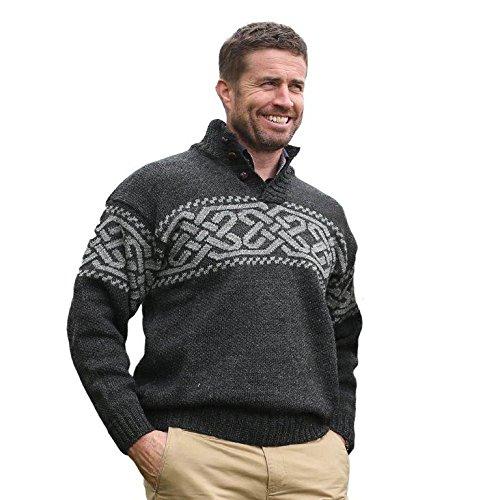 Carraig Donn Men's 100% Irish Merino Wool Sweater with a Trinity Knot Design