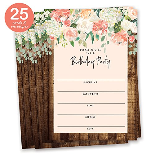 Digibuddha Rustic Flowers Birthday Invitations with Envelopes (Pack of 25) Large 5x7 Fill In Vintage Shabby Chic Excellent Value Party Invites by VI0064B