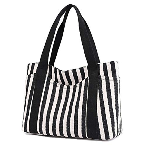 Tote Bag for Women, Eaglean Striped Canvas Shoulder Bags tote bag with zipper Top Handle Beach Handbag Best Gifts for Women Fashion Bag ()