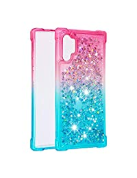 Cfrau Glitter Case with Black Stylus,Luxury Creative Quicksand Liquid Flowing Diamond Soft TPU Shockproof Cover for Samsung Galaxy Note 10 Plus/Note 10 Plus 5G,Pink Blue