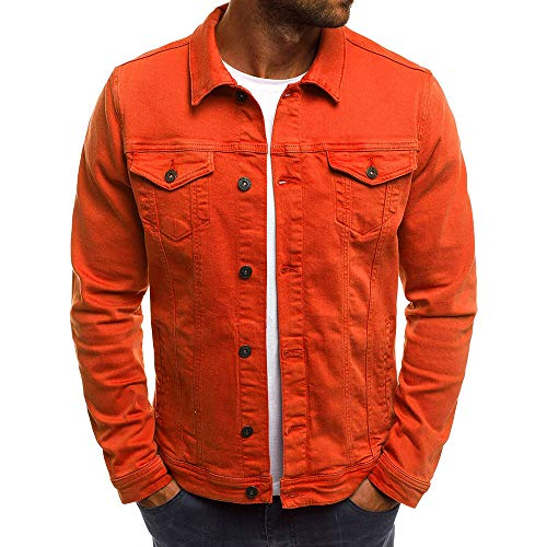 Realdo Mens Denim Jacket, Clearance Sale Men's Solid Color Vintage Button Tops Coat with Pocket(X-Large,Red)