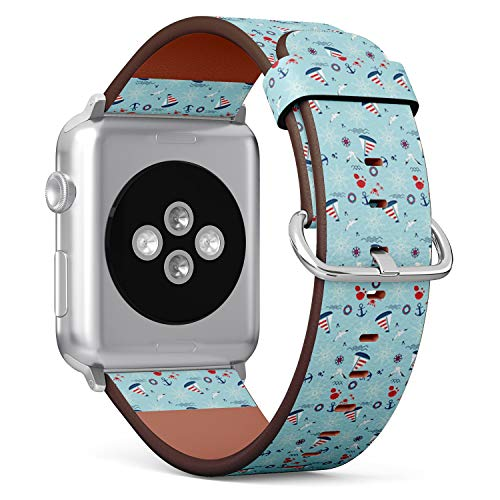 Compatible with Apple Watch 38mm & 40mm Leather Watch Wrist Band Strap Bracelet with Stainless Steel Clasp and Adapters (Sailboat Anchor Steering) (Sailboat Clasp)
