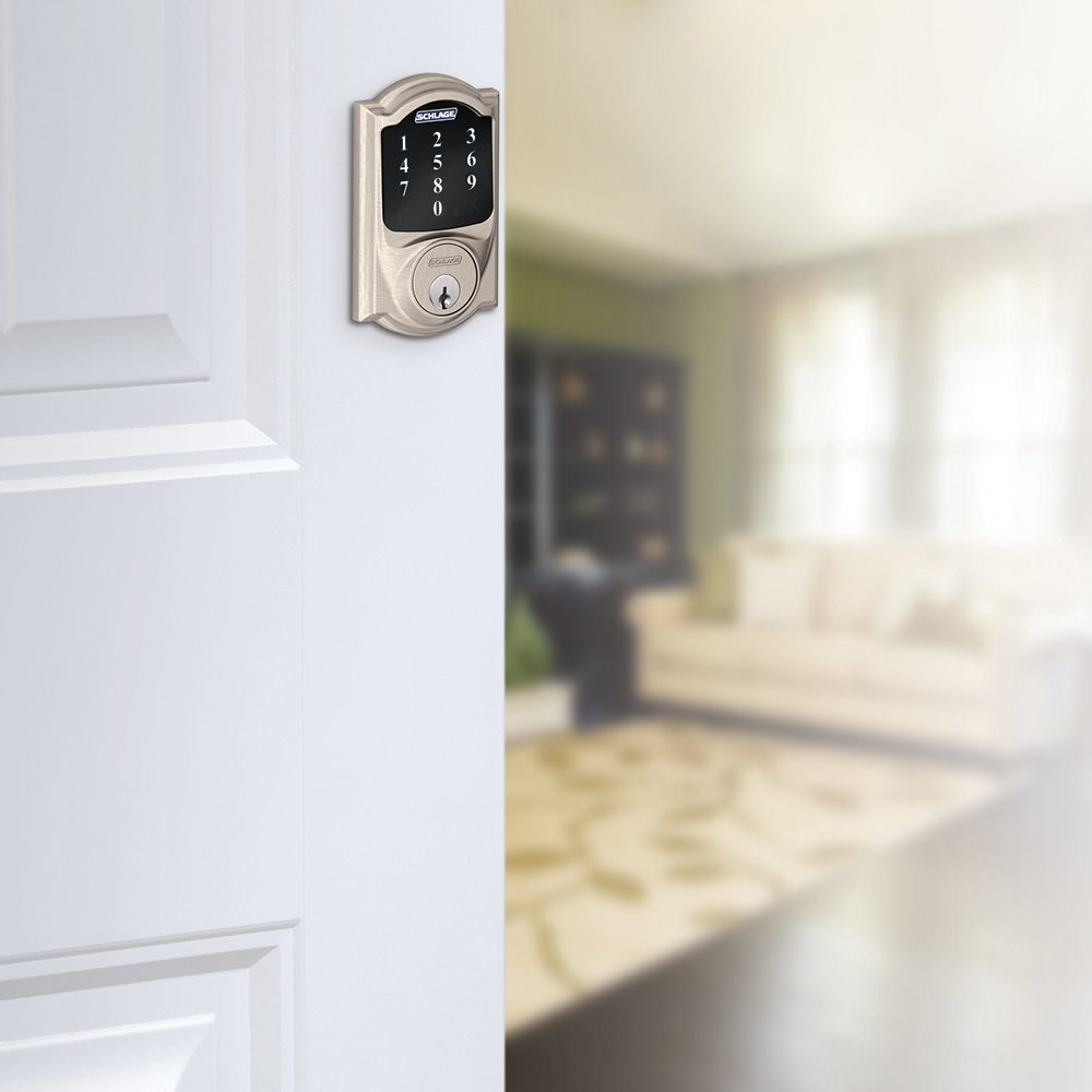 Schlage Z-wave Connect Camelot Touchscreen Deadbolt with Extra Key, Works with Alexa via SmartThings, Wink etc., Satin Nickel, BE468-619-2KA by Smart home