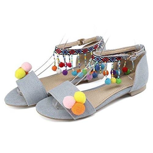 Bout Les À Coolcept Supplémentaire 1 Appartement Clair Été Bleu Femmes Sandales Taille Ouvert qBxSFfBOw