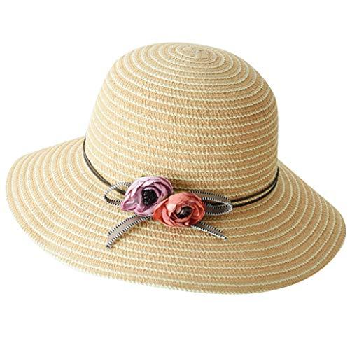 (Womens Straw Hat Wide Brim Floppy Beach Cap Adjustable Sun Hat for Women UPF 50+ Pink)