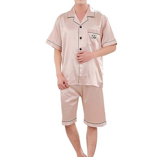 3a2faaca86 Men Women Couple Casual Silk Short-Sleeved Tops, AmyDong Spring Solid Comfortable  Home Pyjamas