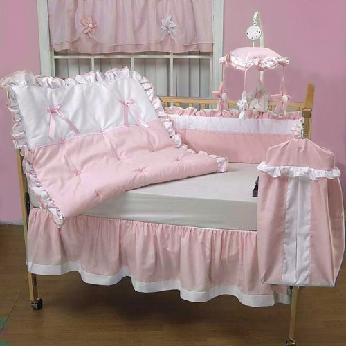 Pique Crib Bedding Set (Baby Doll Bedding Regal Pique Crib Bedding Set, Pink)