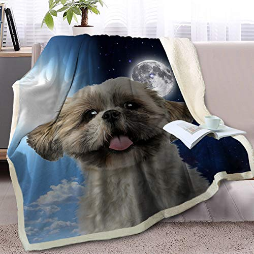 (BlessLiving Fuzzy Dog Blanket for Kids Adults Sun and Moon Print Fleece Blanket Reversible Animal Pattern Sherpa Throw (Shih Tzu,Throw, 50 x 60 Inches))