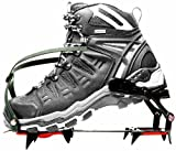 SODIAL(R) 1 Pair Mountain Boots, Ice/ Snow Crampons Teeth 4 Covers Rainy Day Anti-Slip for Outdoor Black